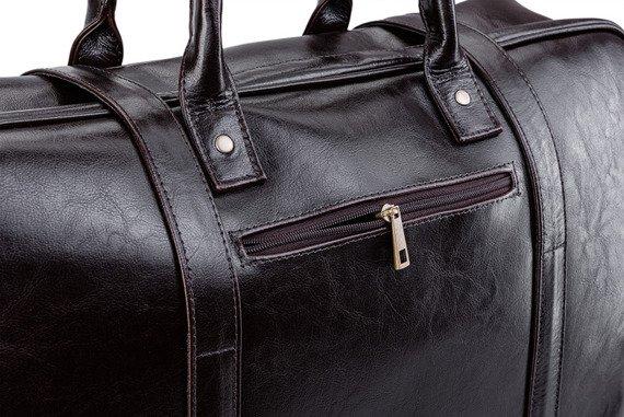 Skórzana torba męska podróżna, weekendowa Solier ciemnobrązowa