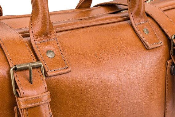 Skórzana torba męska podróżna, weekendowa Solier jasnobrązowa