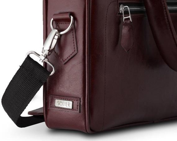 Skórzana torba na laptop z uchwytem na walizkę Solier SL23 bordowa
