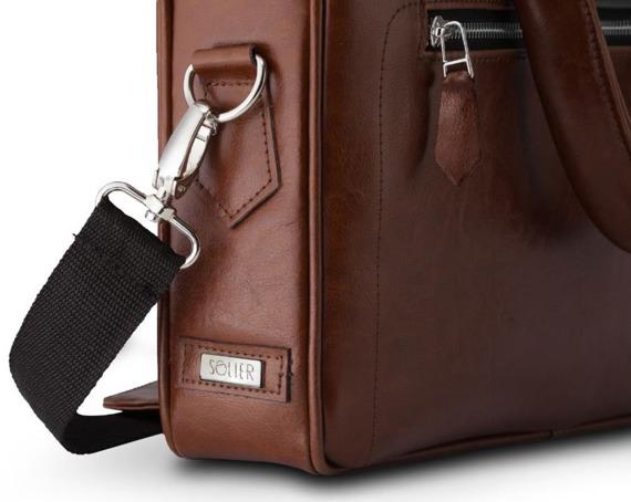 Skórzana torba na laptop z uchwytem na walizkę Solier SL23 brązowy vintage