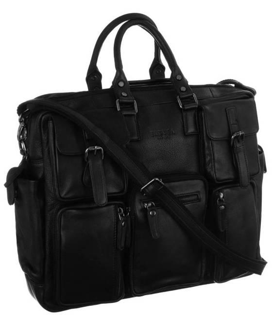 Skórzana torba na laptopa czarna Badura B-LAP-31703-NDM-6598