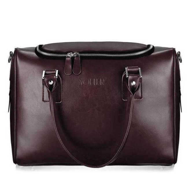 Skórzana torba weekendowa unisex Solier Dratford SL27 ciemny brąz