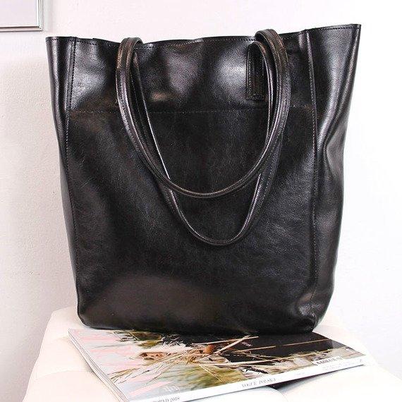 Skórzana torebka damska DAN-A T376 czarna