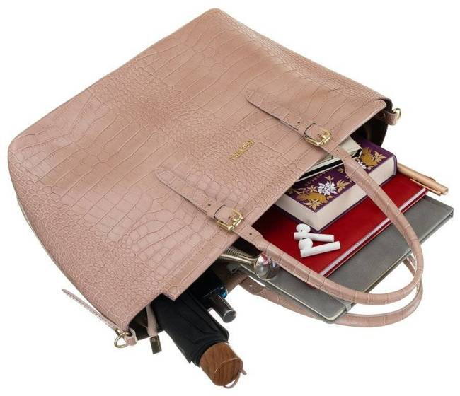Skórzana torebka damska różowa Badura T_D216RO_CD