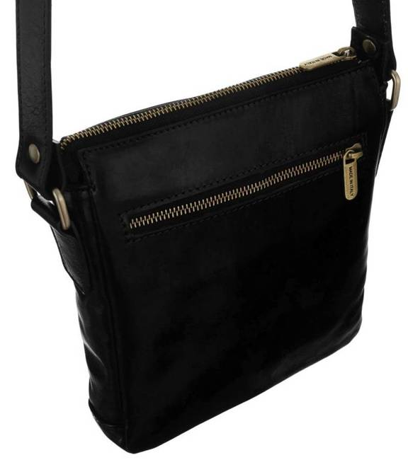 Skórzana torebka listonoszka czarna Badura  T_D196CZ_CD