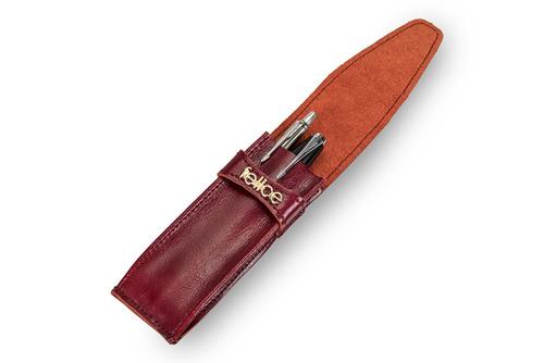 Skórzane damskie etui na długopisy, pióro Felice FA13 bordowe