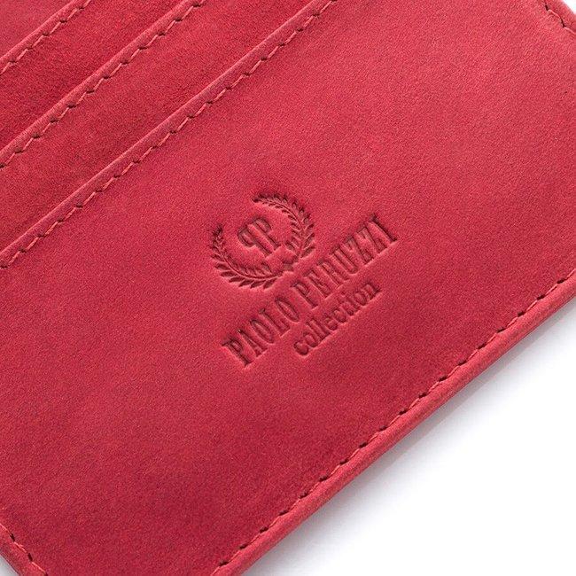 Skórzane etui na karty Paolo Peruzzi czerwone IN-09