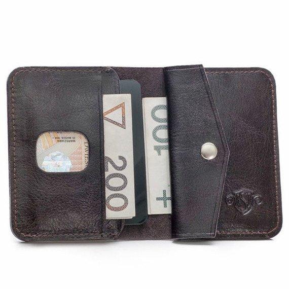 Skórzany cienki portfel męski z bilonówką SOLIER SW16 SLIM ciemny brąz