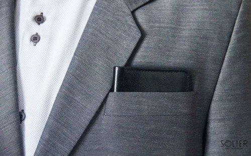 Skórzany cienki portfel męski z bilonówką SOLIER SW16 SLIM czarny