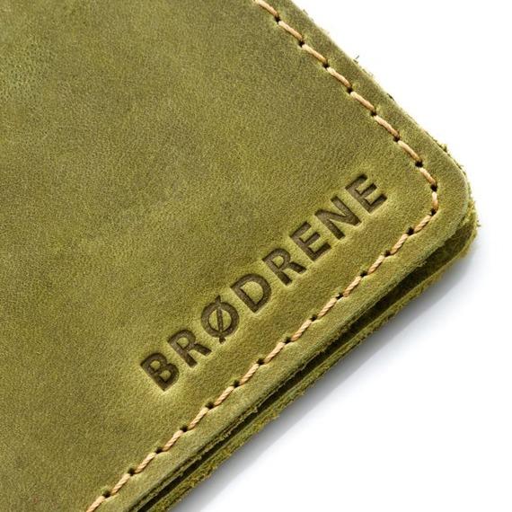 Skórzany cienki portfel slim wallet BRODRENE SW02 zielony
