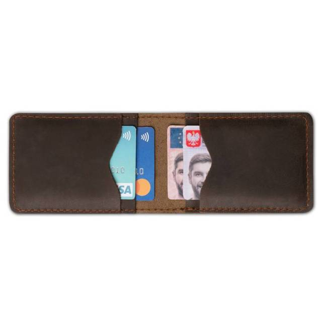 Skórzany cienki portfel slim wallet BRODRENE SW02DB ciemnobrązowy