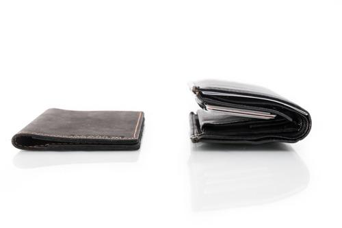 Skórzany cienki portfel slim wallet BRODRENE SW03 czerwony