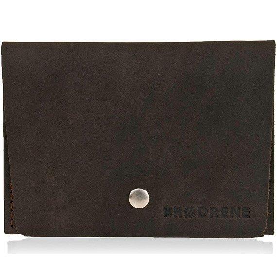 Skórzany cienki portfel slim wallet BRODRENE SW06 ciemnobrązowy