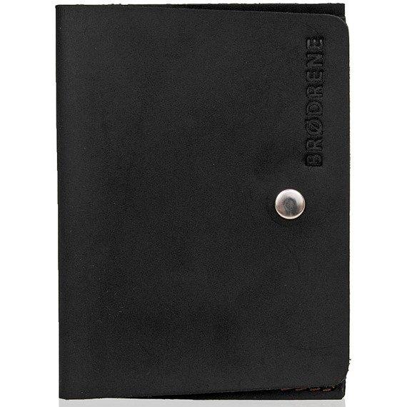 Skórzany cienki portfel slim wallet BRODRENE SW06 czarny