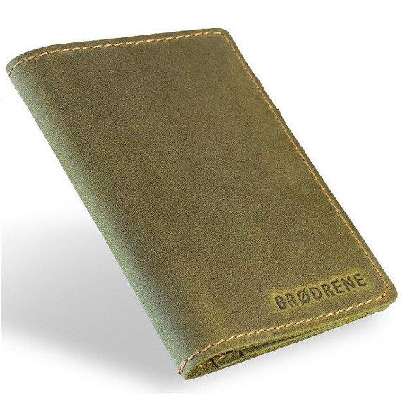 Skórzany cienki portfel slim wallet z bilonówką BRODRENE SW01+ zielony
