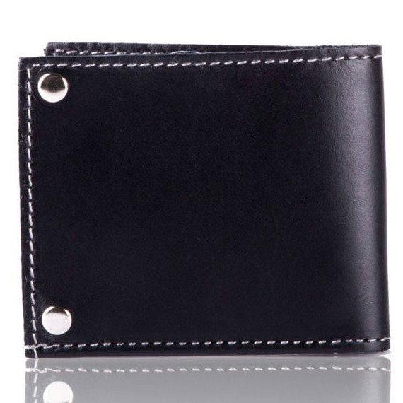 Skórzany cienki portfel wizytownik SOLIER SW21 czarny vintage