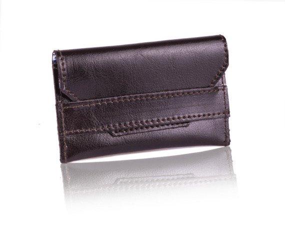 Skórzany cienki portfel wizytownik Solier SW19 ciemny brązowy
