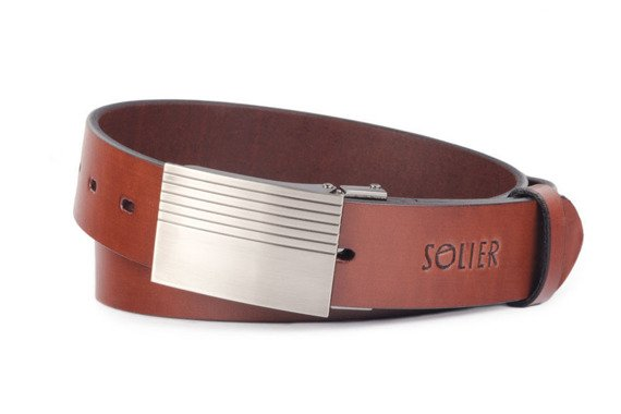 Skórzany elegancki pasek męski SOLIER SB12 ciemny brąz 110 cm