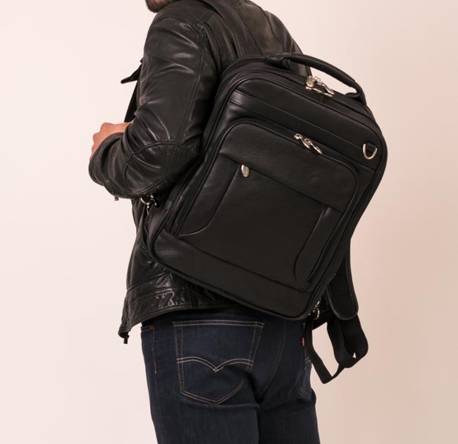 Skórzany plecak z odpinanymi ramionami, torba na laptopa Mcklein Lincoln Park 41655