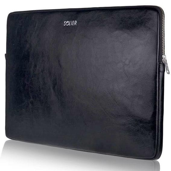 Skórzany pokrowiec etui na laptopa 15 cali Solier SA23A Czarny