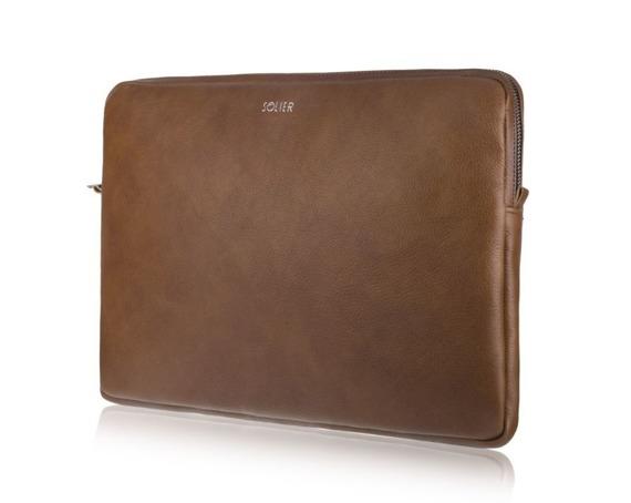 Skórzany pokrowiec etui na laptopa 15 cali Solier SA23A brązowy