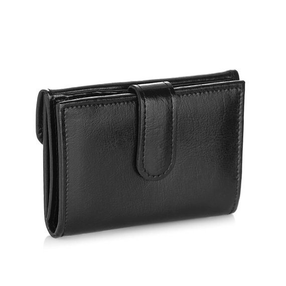 Skórzany portfel damski Brodrene A-05 czarny