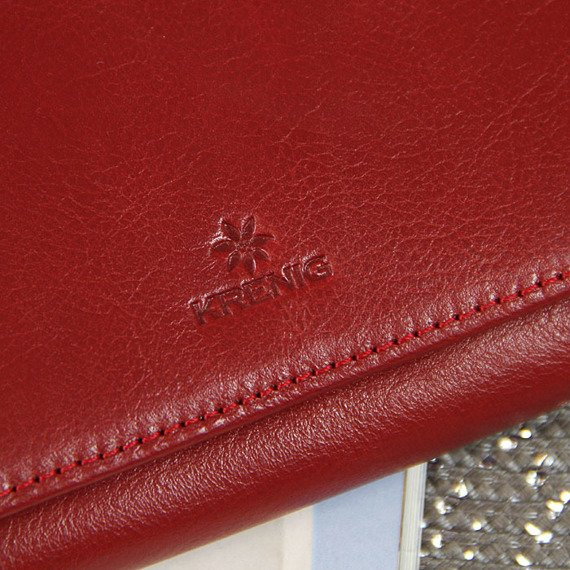 Skórzany portfel damski KRENIG Classic 12015 czerwony w pudełku