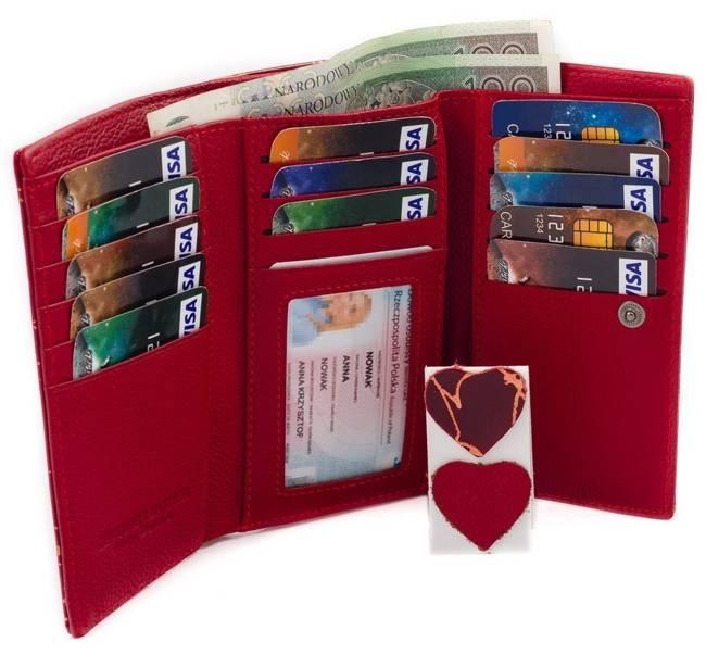 Skórzany portfel damski Lorenti 55020 czerwony