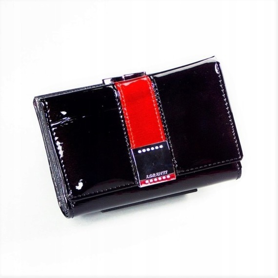 Skórzany portfel damski czarny Lorenti 76117