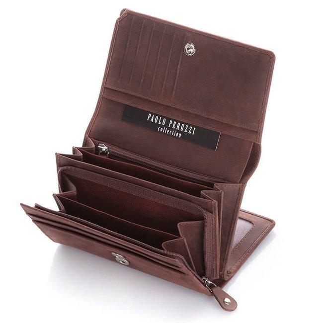 Skórzany portfel damski czarny Paolo Peruzzi IN-05-BR
