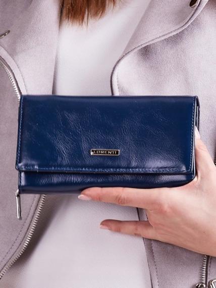 Skórzany portfel damski granatowy Lorenti