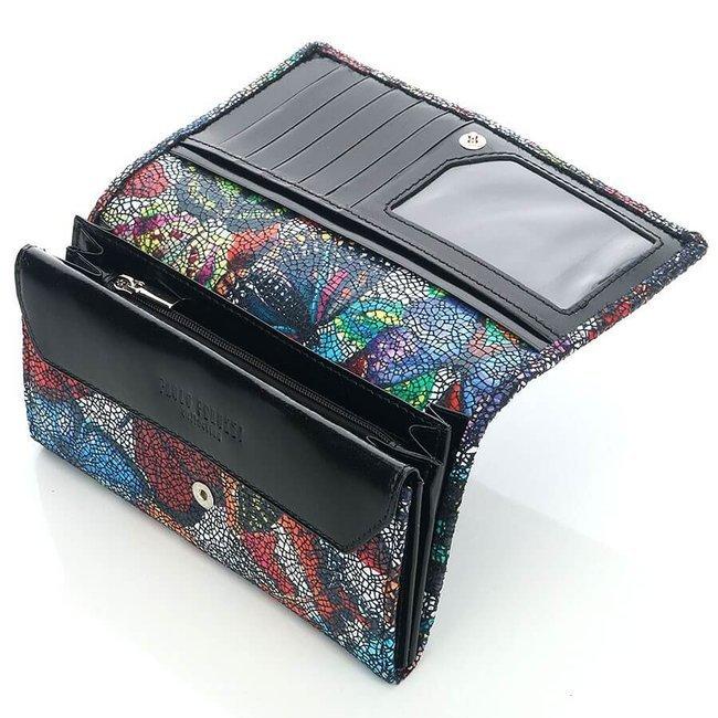 Skórzany portfel damski kolorowy w motyle Paolo Peruzzi GA328