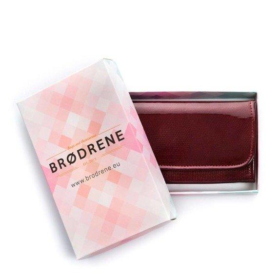 Skórzany portfel damski lakierowany Brodrene A-14 czerwony