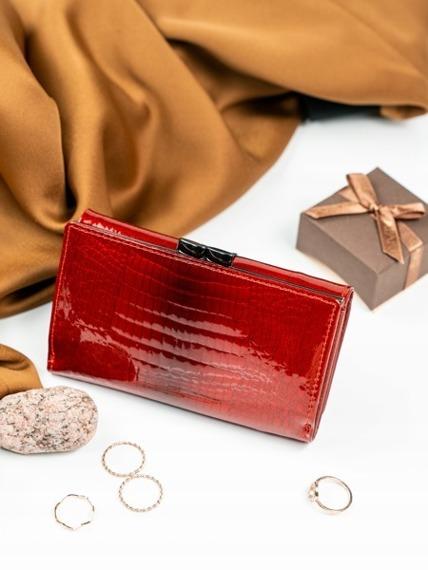 Skórzany portfel damski lakierowany czerwony Lorenti WL8924