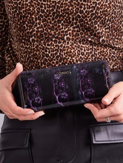 Skórzany portfel damski lakierowany na zamek fioletowy Lorenti