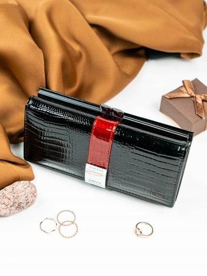 Skórzany portfel damski lakierowany z kryształkami czarny Lorenti 177B
