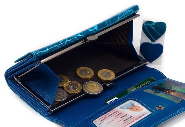 Skórzany portfel damski niebieski Lorenti 64003