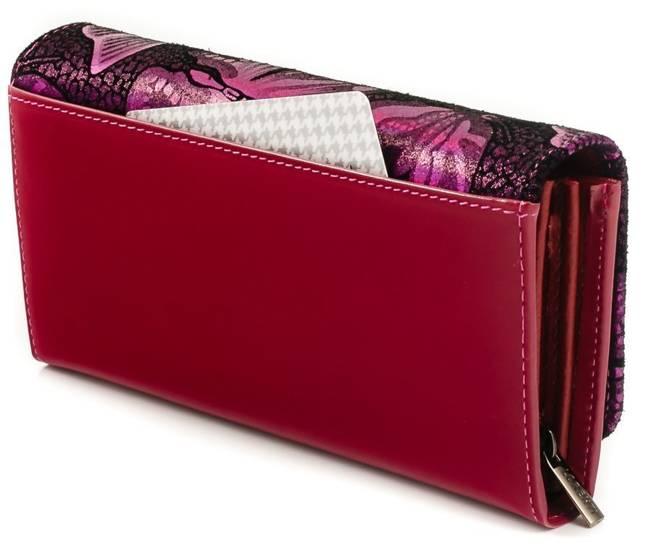 Skórzany portfel damski opalizujący różowy Lorenti 76110
