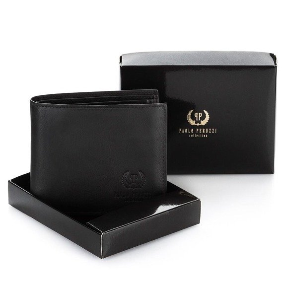 Skórzany portfel męski 2w1 PAOLO PERUZZI GA175 czarny