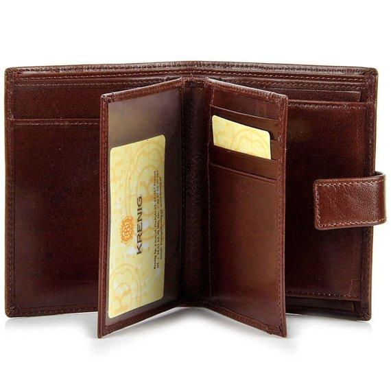 Skórzany portfel męski KRENIG El Dorado 11082 brązowy w pudełku