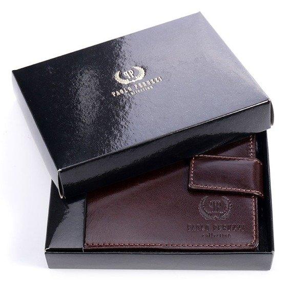 Skórzany portfel męski PAOLO PERUZZI GA182 brązowy