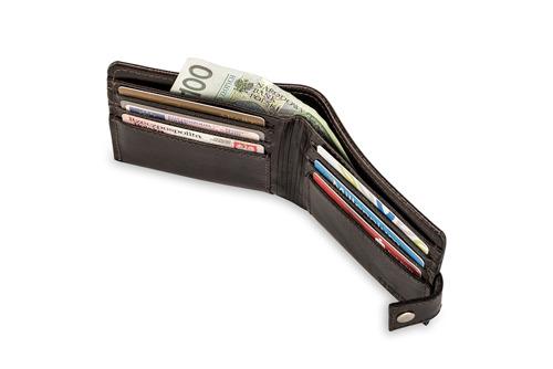 Skórzany portfel męski SOLIER SW05 ciemnobrązowy