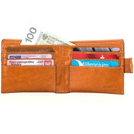 Skórzany portfel męski SOLIER SW05 jasnobrązowy