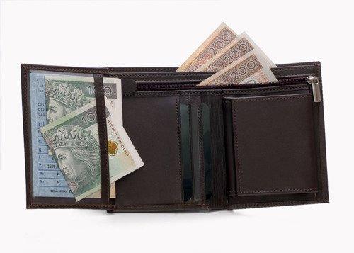 Skórzany portfel męski SOLIER SW08 ciemnobrązowy