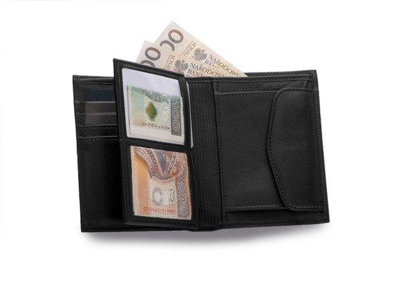 Skórzany portfel męski SOLIER SW09 czarny
