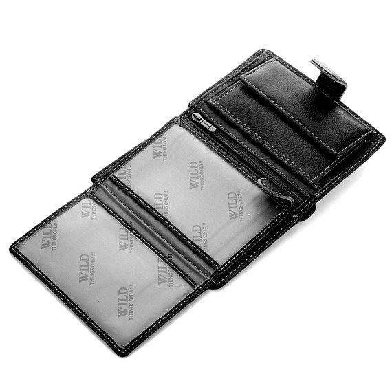 Skórzany portfel męski czarny GA96