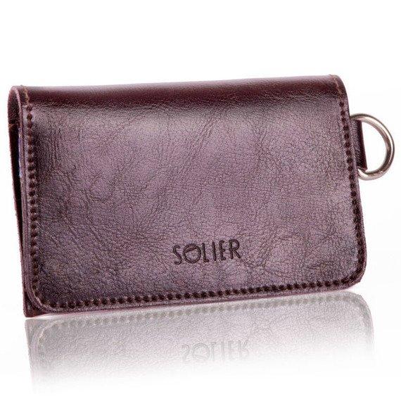 Skórzany portfel męski/wizytownik z miejscem na bilon SOLIER SW20 ciemny brązowy