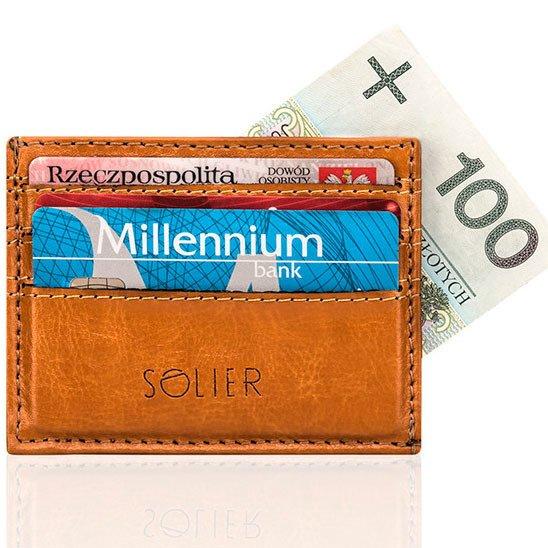 Skórzany portfel wizytownik męski SOLIER SA13 jasny brąz