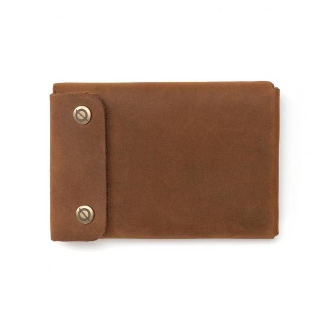Skórzany stylowy portfel męski Brødrene W02 j.brąz