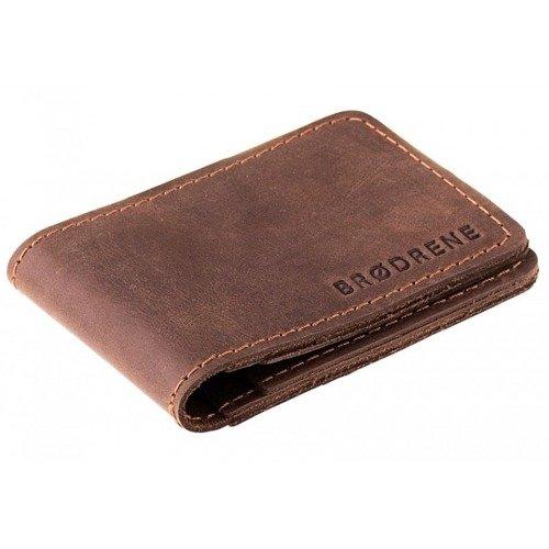 Skórzany zestaw portfel i bilonówka BRODRENE SW02 + CW02 ciemnobrązowy
